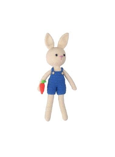 Quzucuk Kids Amigurumi Özel Tasarım Organik El Örgüsü Tavşan Oyuncak 30Cm Renkli